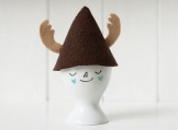 Hand painted egg cup with pointed antlers hat