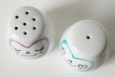 Hand-painted smiley salt and pepper pots with hearts. Condiment holders for anniversary or wedding gift.