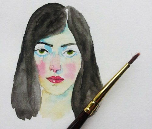 watercolour in sketchbook