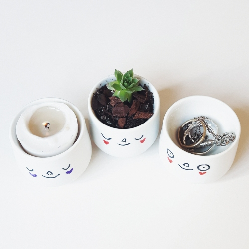 Egg cups with faces, mini succulent planters and ring holders