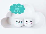 Custom couples gift for Valentines Day - egg cups with names on the back