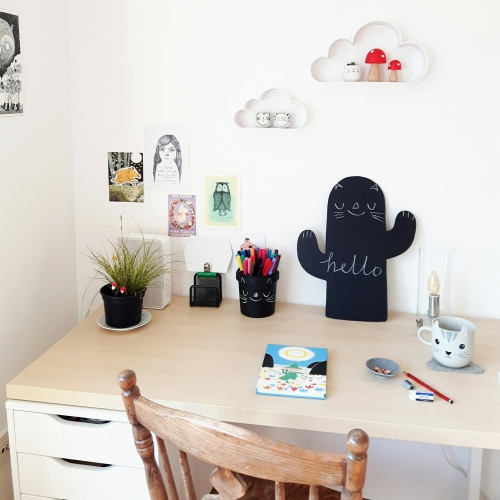 Desk and workspace of illustrator Heidi Burton