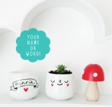 Personalised happy egg cup with your name or word
