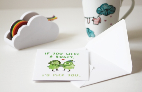 Funny Valentine's Day card - If you were a bogey, I'd pick you. By Heidi Burton on Etsy
