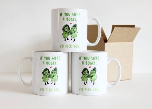 Anniversary mugs with words: if you were a bogey, I'd pick you