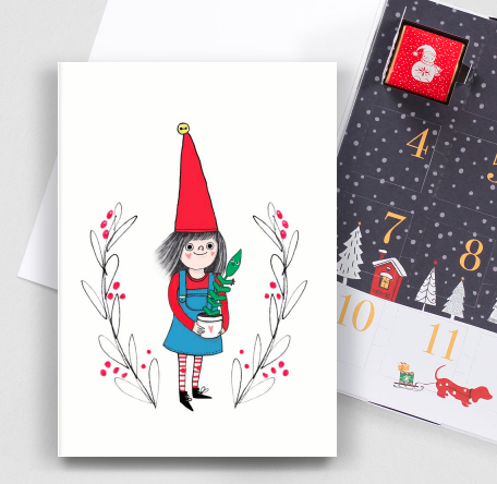 Christmas card illustration on an advent calendar style card, available on the Thortful.com website.