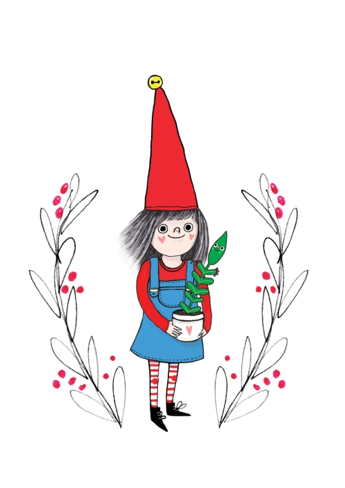 Finnish Christmas elf girl holding plant illustration