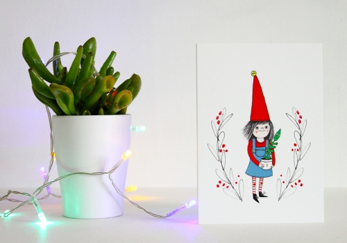 Christmas card with plant and festive lights