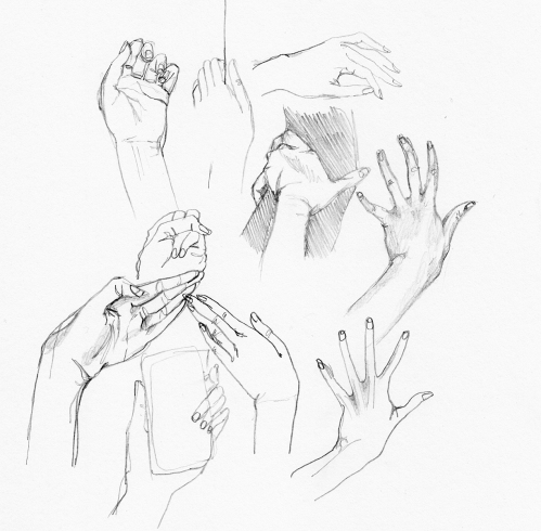 Sketchbook drawings of hands drawn from life