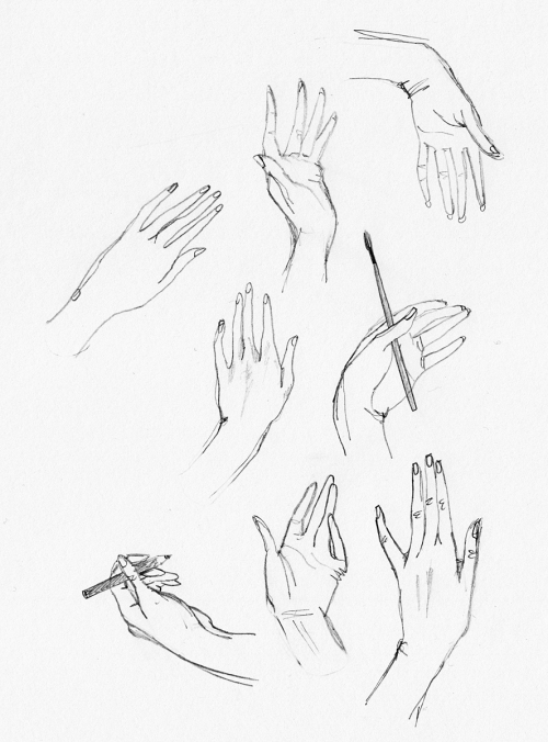 Line drawing of hands with various gestures and positions