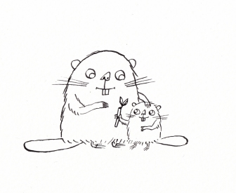 Ink line drawing of beaver with kit and stick