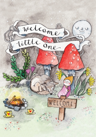 "Watercolour new baby card with ribbon banner text: ""welcome little one"". Wonderland-themed illustration with woodland scene. Card for baby girl or baby boy."