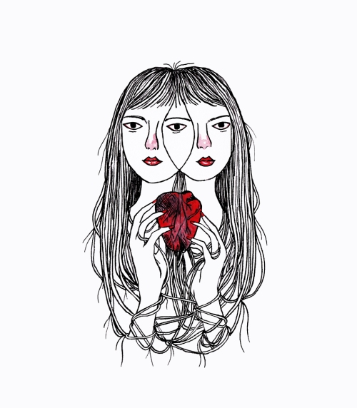 Black and red ink illustration depicting a woman with two overlapping faces, holding an anatomical heart.