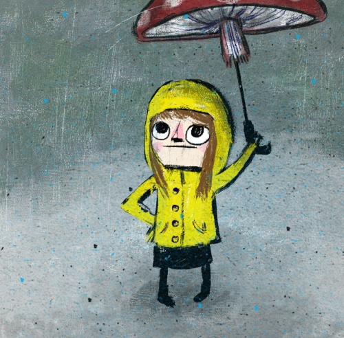Children's illustration of small girl in yellow anorak holding mushroom umbrella in the rain.
