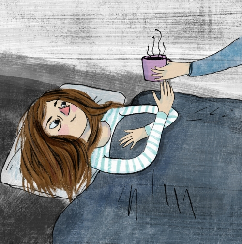 Illustration of woman in bed being handed a cup of tea or coffee.
