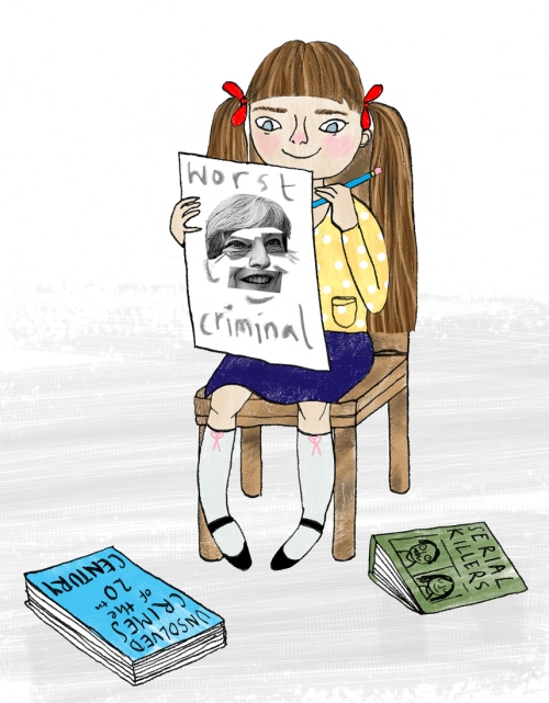 Illustration of a little girl who wants to be a police sketch photofit artist when she grows up.